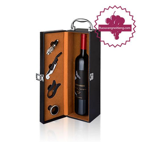 Rượu vang Kangaroo Bin 188 hộp da biếu tặng, rượu vang úc